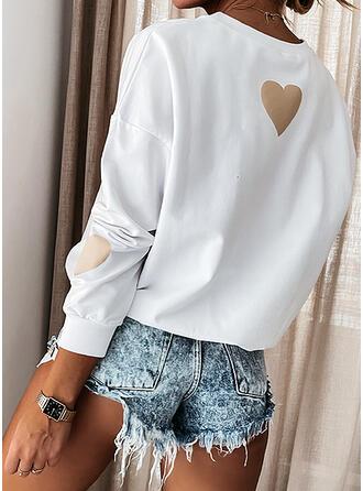 Print Hart Ronde nek Lange Mouwen Sweatshirts