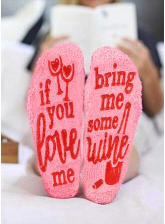 Bloemen/Letter Warme/vrouwen/Crew sokken/Antislip/Valentijnsdag Sokken