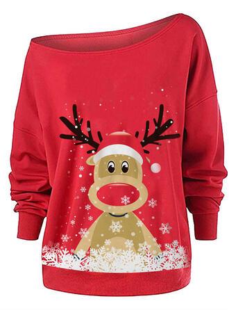 Dierenprint One Shoulder Lange Mouwen Kerst Sweatshirt