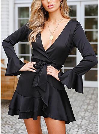 Solide Lange Mouwen/Flare Mouwen A-lijn Boven de knie Zwart jurkje/Elegant Wrap/Schaatser Jurken