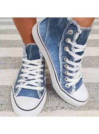 Vrouwen Zeildoek Flat Heel Flats Lage top Ronde neus Espadrille met Vastrijgen schoenen