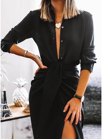 Solide Lange Mouwen Koker Knielengte Zwart jurkje/Casual Jurken