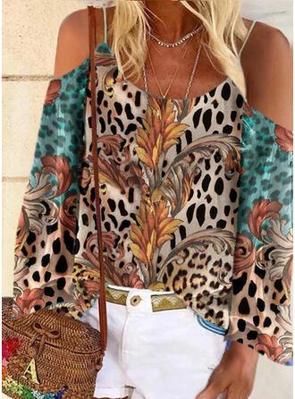 Print luipaard Cold Shoulder Lange Mouwen Casual Overhemd