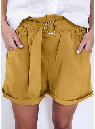Zakken Shirred Grote maat Boven de knie Casual Shorts