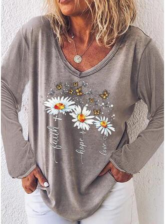 Bloemen Dierenprint Figuur V-hals Lange Mouwen Casual T-shirts