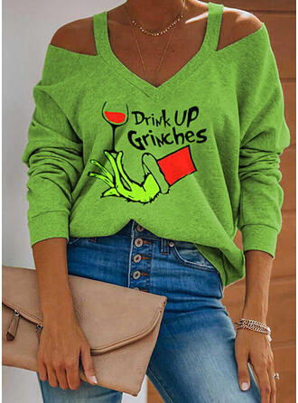 Print Figuur Cold Shoulder Lange Mouwen Casual Kerstmis Overhemd