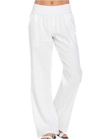 Zakken Shirred Lang Casual Elegant Solide Gewoon Broeken