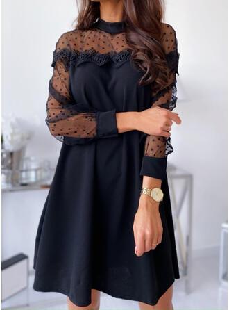Kant/Solide/Nop Lange Mouwen Shift Boven de knie Zwart jurkje/Elegant Tunieken Jurken
