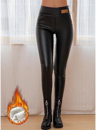 Solide Grote maat Sexy Leer Wijnoogst Leggings