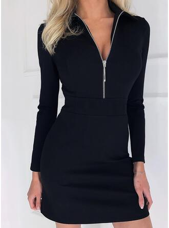 Solide Lange Mouwen Koker Boven de knie Zwart jurkje/Elegant Jurken