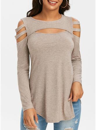 Solide Cold Shoulder Lange Mouwen Pailletten Overhemd