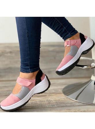 Vrouwen Doek Mesh Flat Heel Flats Ronde neus Dans Sneakers Loafers & Slip-Ons met Velcro Las kleur schoenen