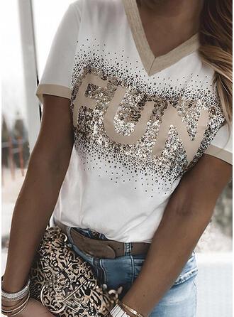 Figuur pailletten V-hals Korte Mouwen T-shirts