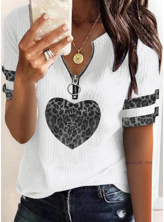 Print luipaard Hart V-hals Korte Mouwen Casual Overhemd