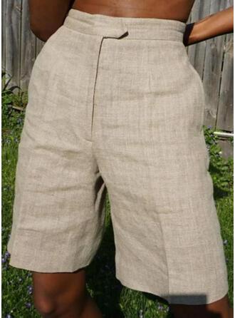 Solide Shirred Gewoon Wijnoogst Shorts