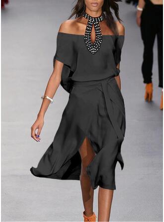 Pailletten/Solide 1/2 Mouwen A-lijn Schaatser Zwart jurkje/Elegant Medium Jurken