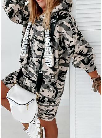 Print/Camouflage Lange Mouwen Shift Knielengte Casual Sweatshirts Jurken