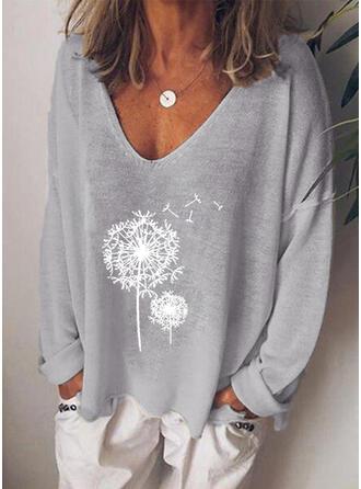Paardebloem Print V-hals Lange Mouwen T-shirts