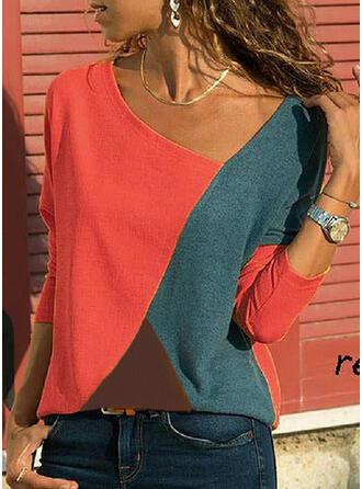 Color Block V-hals Lange Mouwen T-shirts