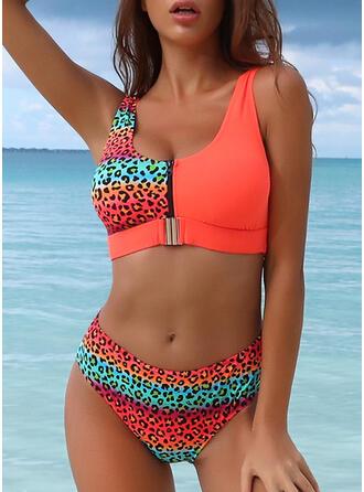 Luipaard Streep Bladeren Riem U-hals Mooi Aantrekkelijk Bikini's Badpakken