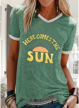 Figuur Print V-hals Korte Mouwen T-shirts