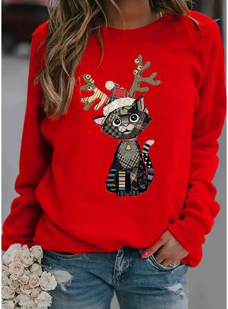 Dierenprint Ronde nek Lange Mouwen Kerst Sweatshirt