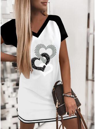 Print/Kleurblok/Hart Korte Mouwen Shift Boven de knie Casual T-shirt Jurken