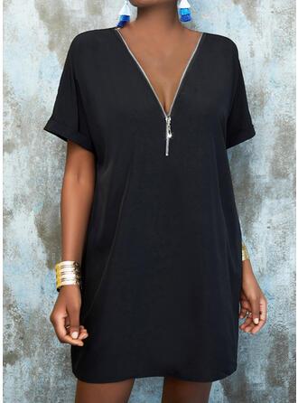 Solide 1/2 Mouwen Shift Knielengte Zwart jurkje/Casual Tunieken Jurken