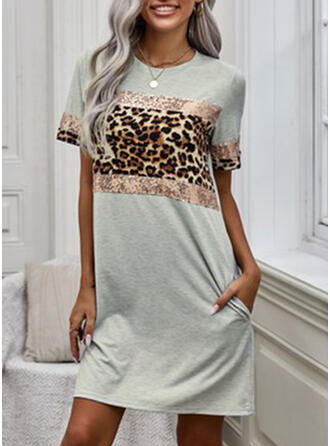 Kleurblok/luipaard Korte Mouwen Shift Boven de knie Casual T-shirt Jurken