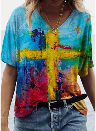 Print V-hals 1/2 Mouwen T-shirts