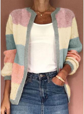Polyester Lange Mouwen Color Block Cardigans