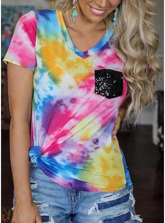 Tie Dye V-hals Korte Mouwen T-shirts