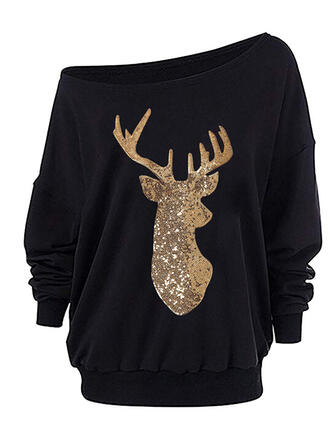 Dierenprint pailletten One Shoulder Lange Mouwen Kerst Sweatshirt